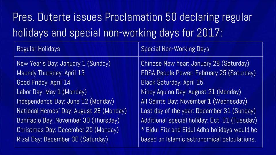 2017 Philippines Holidays