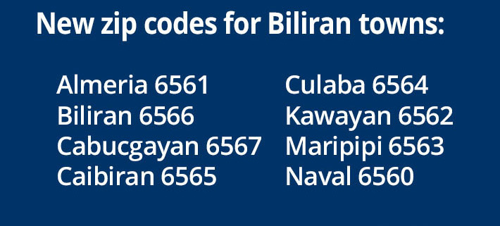 New Zip Codes for Biliran towns.