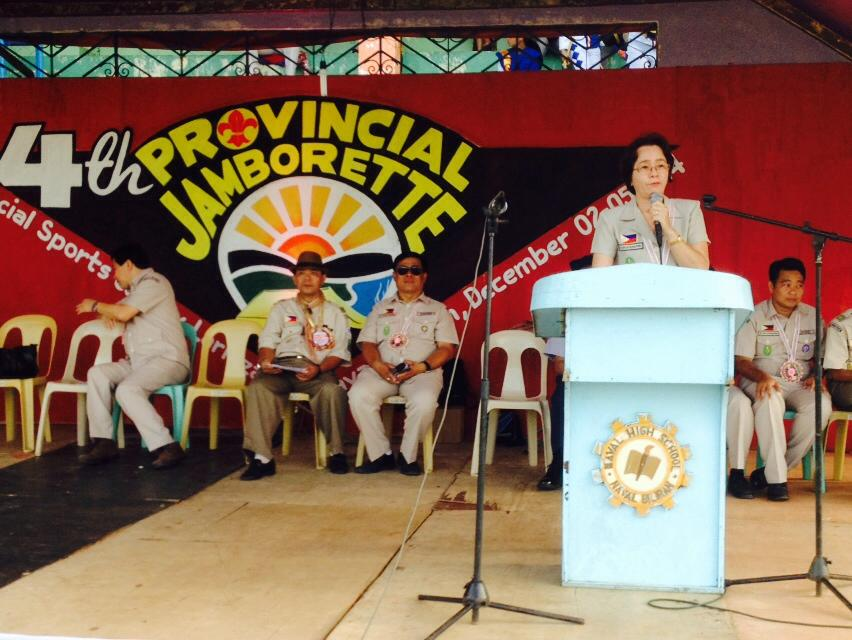 Naval Mayor Susan V. Parilla (at the rostrum) delivers her welcome message during the opening ceremony of the 4th provincial jamborette of BSP-Biliran scouts council held at the Biliran provincial sports ground, Larrazabal, Naval, Biliran, December 2, 2014. (rvictoria/PIA 8 Biliran)