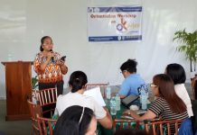 OPLAN KALUSUGAN SA DEPED - Lucille Curso Roa, Chief, School Governance Operations Dvision (SGOD), DepEd-Division of Biliran, during the orientation workshop of all school heads, health program focal persons, health personnel, and members of the technical working group in the division on Oplan Kalusugan (OK ) sa DepEd held on Thursday, July 5, at the Rosary & Tom 's Place, Calumpang, Naval, Biliran. Roa messaged the program's impact in the increase of performance of the school children and in the attainment of quality education. (rvictoria/PIA Biliran)