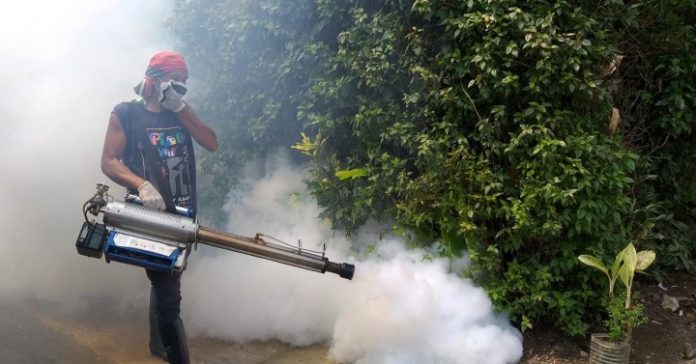 FOGGING. A fogging activity in Guindapunan village in Palo, Leyte to kill adult mosquitoes. The Department of Health told local officials to search and destroy mosquito breeding places and not just conduct fogging to combat dengue. (Photo courtesy of Palo municipal health office)